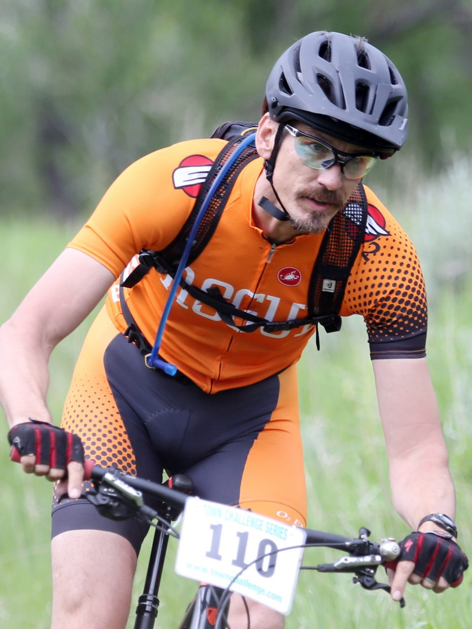 Karl Mikkelson competes in the Marabou XC Town Challenge on Wednesday, June 10, 2015, at Marabou Ranch.