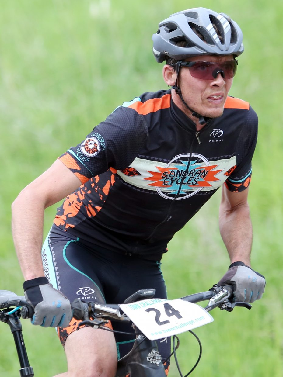 Peter Kalmes competes in the Marabou XC Town Challenge race on Wednesday, June 10, 2015, at Marabou Ranch. Kalmes finished third in the men's pro/open division.