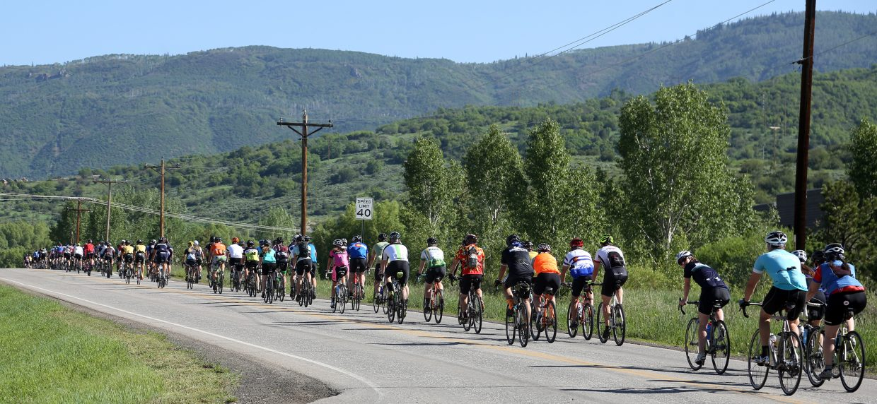 About 150 cyclists took off down Elk River Road on Saturday morning in Steamboat Springs as part of the second annual Moots Colorado Ranch Rally. The untimed, non-competitive 50-mile bike ride, which takes participants around Elk Mountain, raises money for the Community Agriculture Alliance.