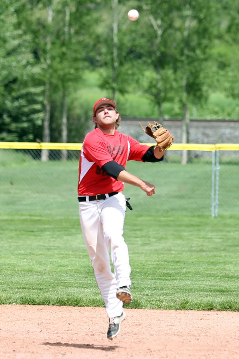 Steamboat Storm second baseman Jace Langen makes a throw toward first base for an out in Game 2 against the Vail Vipers on Saturday, June 13, 2015, at Emerald Park.