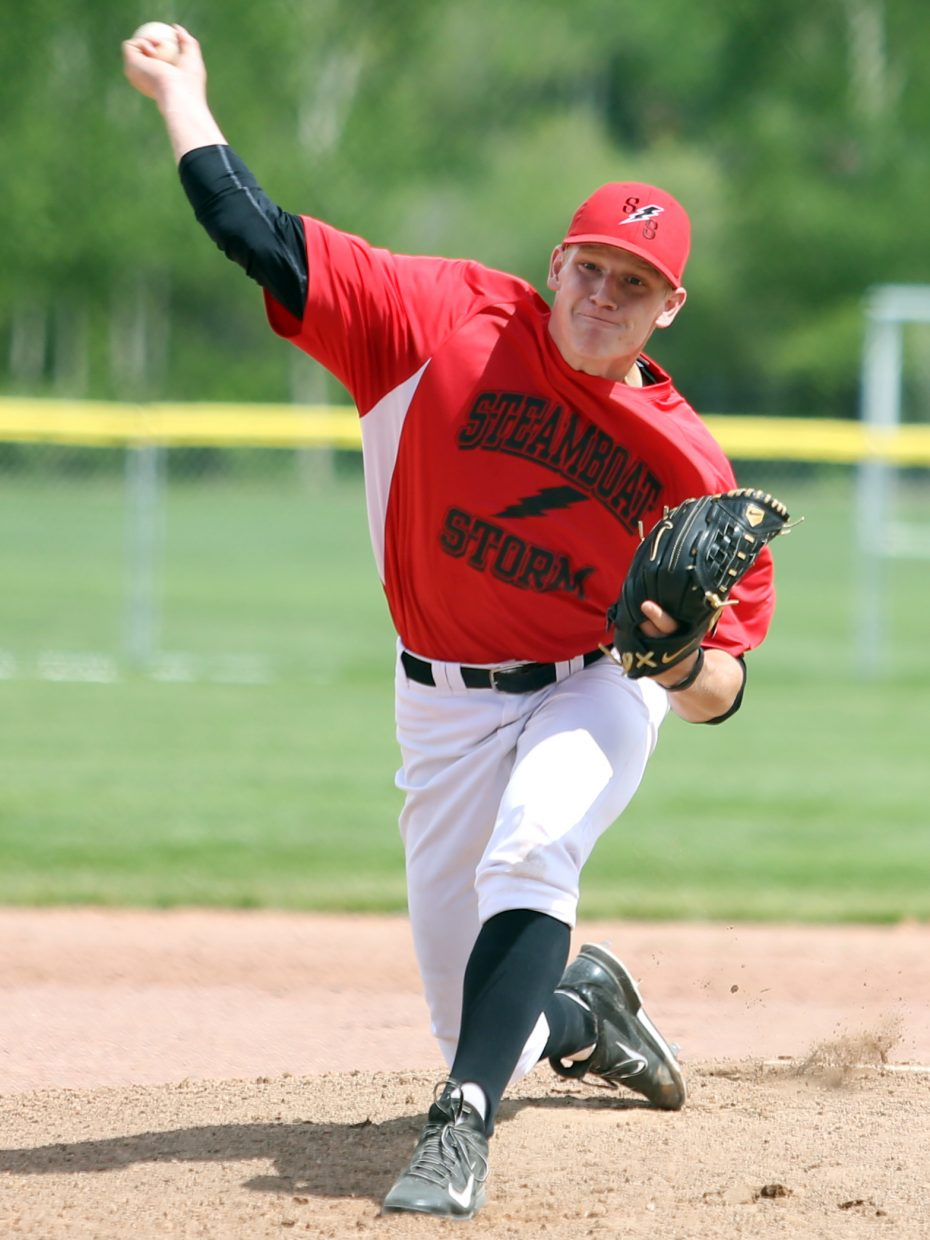 The Steamboat Storm's Chris Noonan pitches against the Vail Vipers in Game 2 on Saturday, June 13, 2015, at Emerald Park.