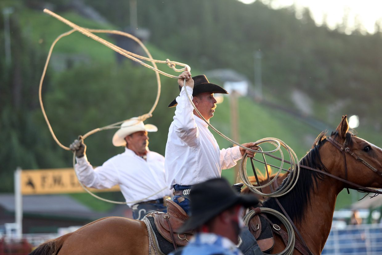 A wrangler attempts to corral a horse during Friday's season opening Steamboat Springs Pro Rodeo Series at Brent Romick Rodeo Arena in downtown Steamboat.