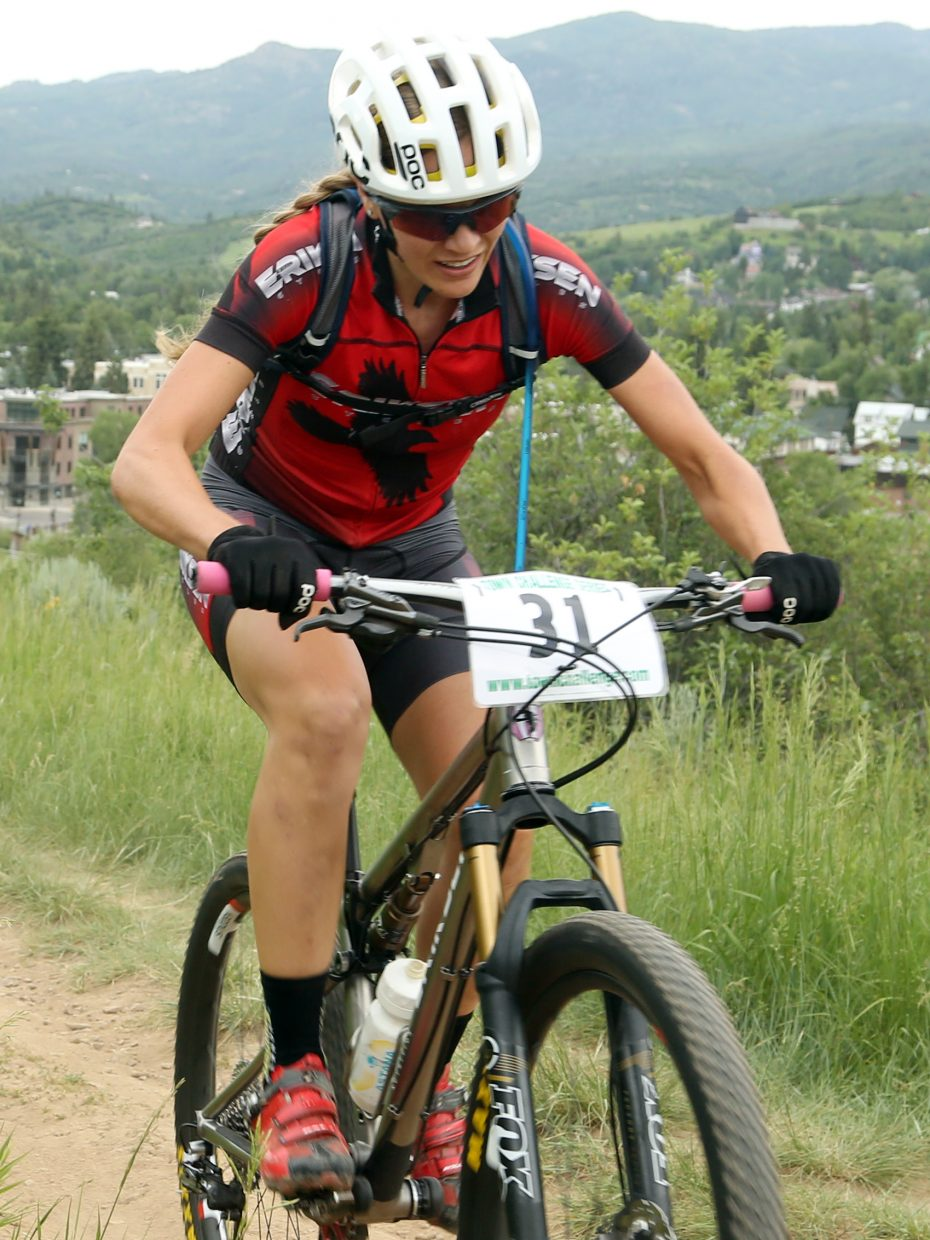 Hannah Williams competes in the women's pro/open division of the Emerald Envy XC Town Challenge mountain bike race on June 24, 2015, at Emerald Mountain in Steamboat Springs.