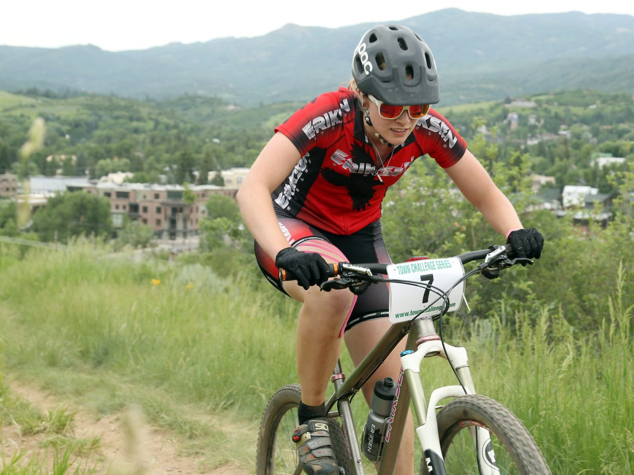 Linnea Dixson competes in the women's pro/open division of the Emerald Envy XC Town Challenge mountain bike race on June 24, 2015, at Emerald Mountain in Steamboat Springs.