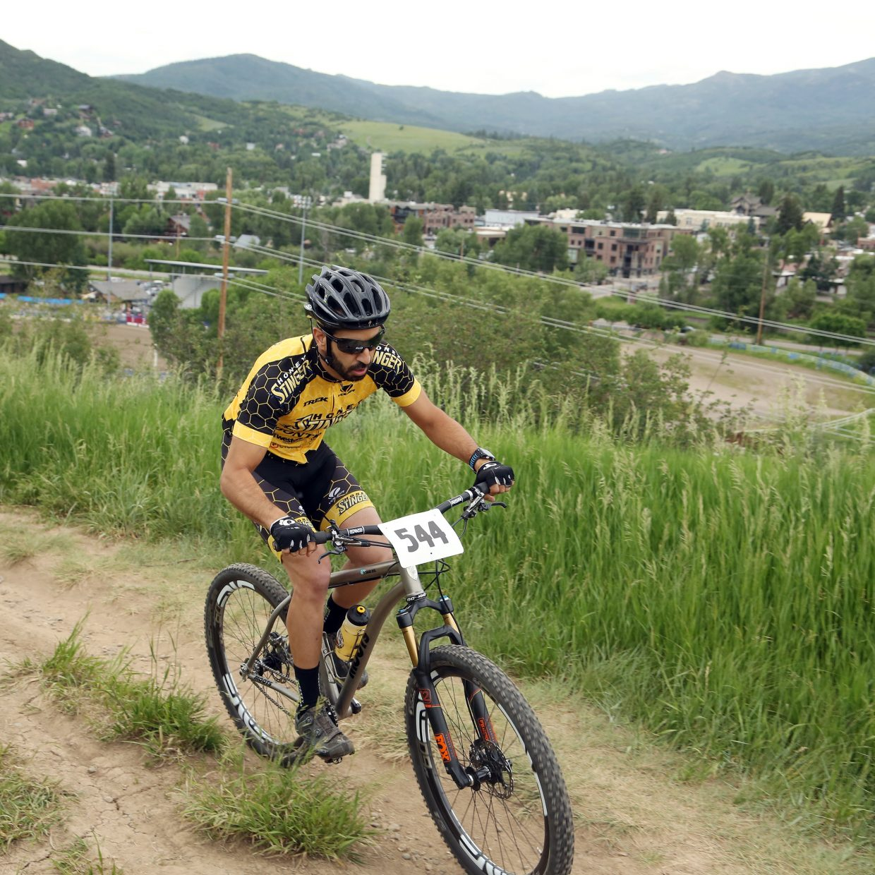 Chris Tamucci competes in the men's single speed division of the Emerald Envy XC Town Challenge mountain bike race on June 24, 2015, at Emerald Mountain in Steamboat Springs.