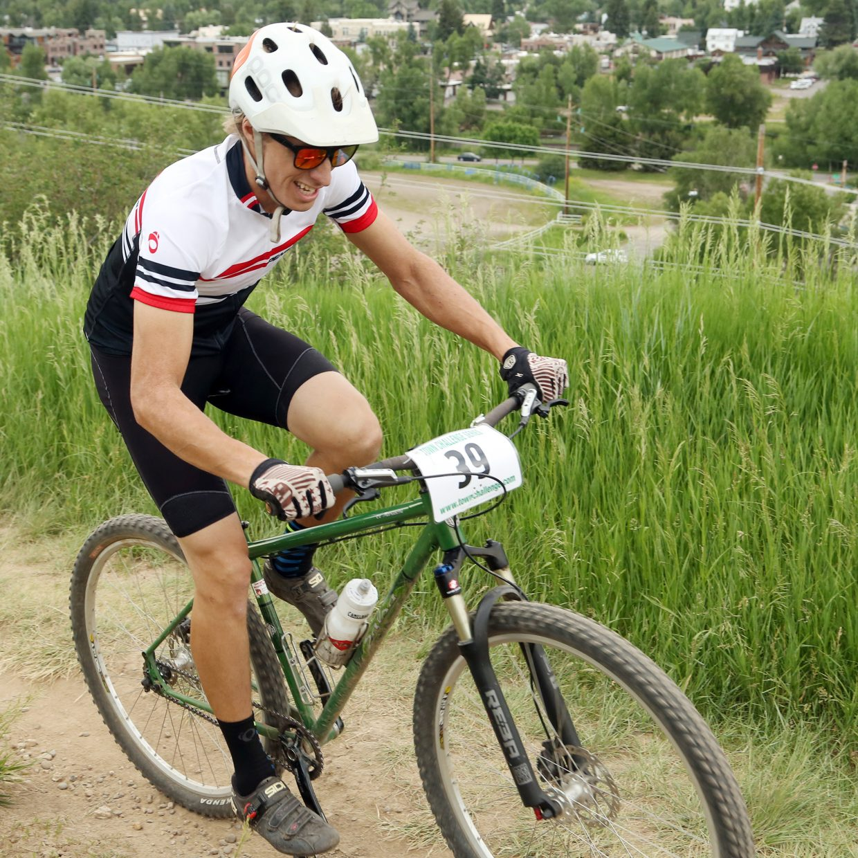 Chad Gruben competes in the men's single speed division of the Emerald Envy XC Town Challenge mountain bike race on June 24, 2015, at Emerald Mountain in Steamboat Springs.