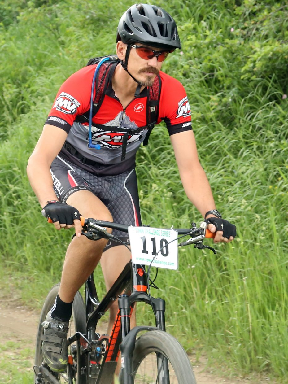 Karl Mikkelson competes in the men's sport 35 to 49 division of the Emerald Envy XC Town Challenge mountain bike race on June 24, 2015, at Emerald Mountain in Steamboat Springs.