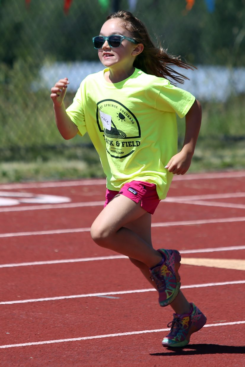 Grace competes at a youth track and field camp hosted by Steamboat Springs High School on Friday, June 26, 2015, at the SSHS track. The week long camp ended Friday with a mock track meet at the high school.
