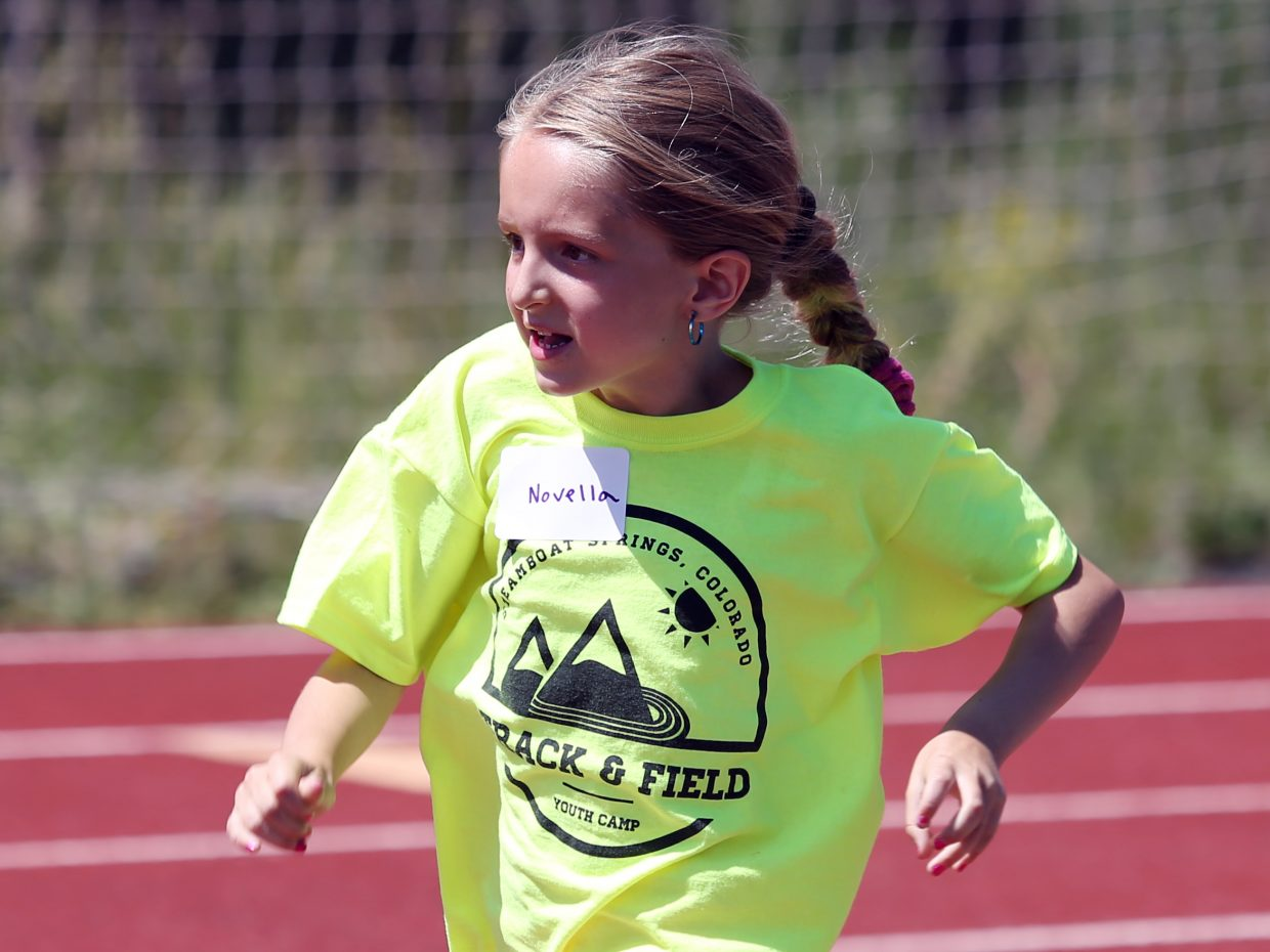 Novella competes at a youth track and field camp hosted by Steamboat Springs High School on Friday, June 26, 2015, at the SSHS track. The week long camp ended Friday with a mock track meet at the high school.