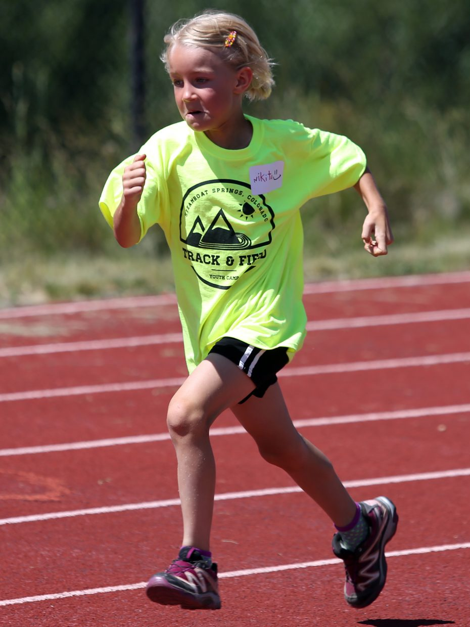 Nikita competes at a youth track and field camp hosted by Steamboat Springs High School on Friday, June 26, 2015, at the SSHS track. The week long camp ended Friday with a mock track meet at the high school.