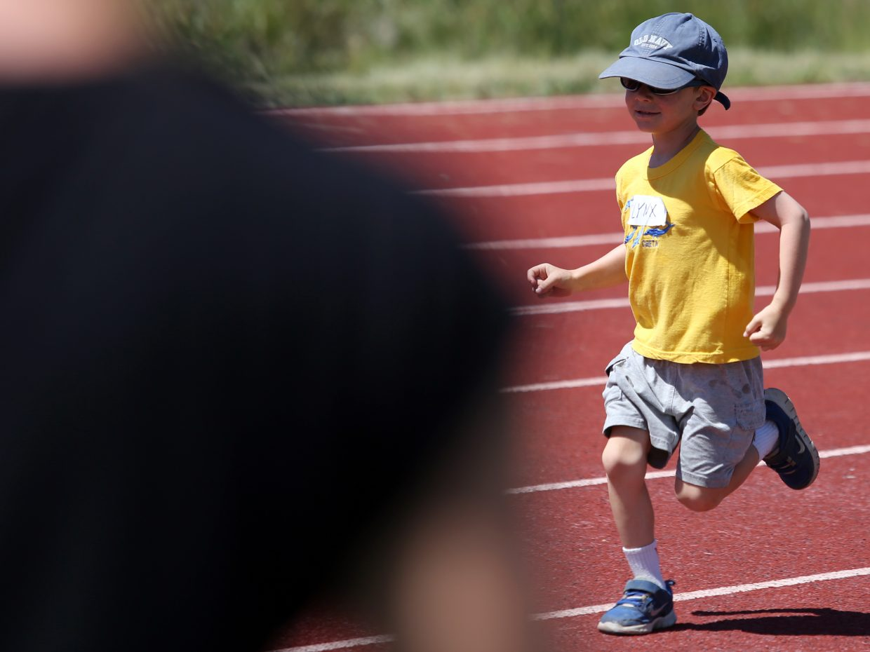 Lynx competes at a youth track and field camp hosted by Steamboat Springs High School on Friday, June 26, 2015, at the SSHS track. The week long camp ended Friday with a mock track meet at the high school.