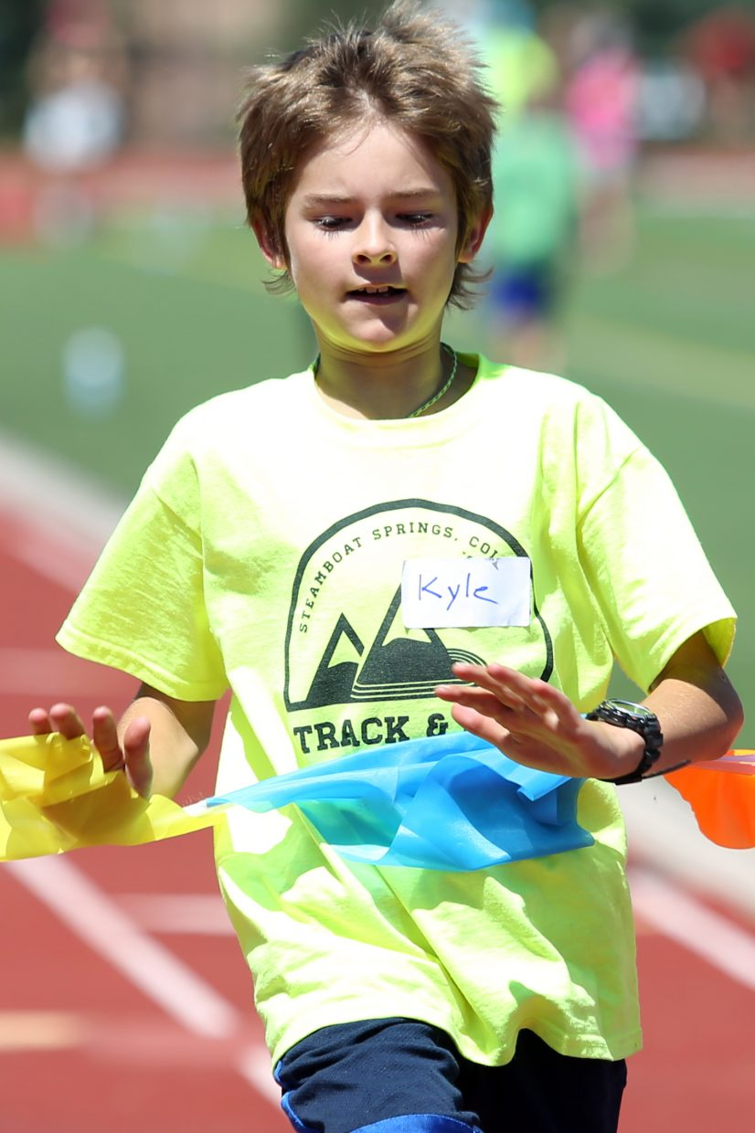 Kyle competes at a youth track and field camp hosted by Steamboat Springs High School on Friday, June 26, 2015, at the SSHS track. The week long camp ended Friday with a mock track meet at the high school.