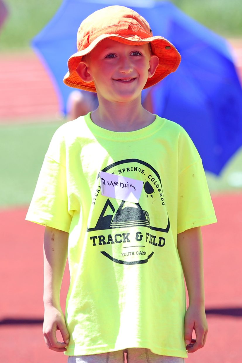 Quentin gets ready to try out the high jump at a youth track and field camp hosted by Steamboat Springs High School on Friday, June 26, 2015, at the SSHS track. The week long camp ended Friday with a mock track meet at the high school.