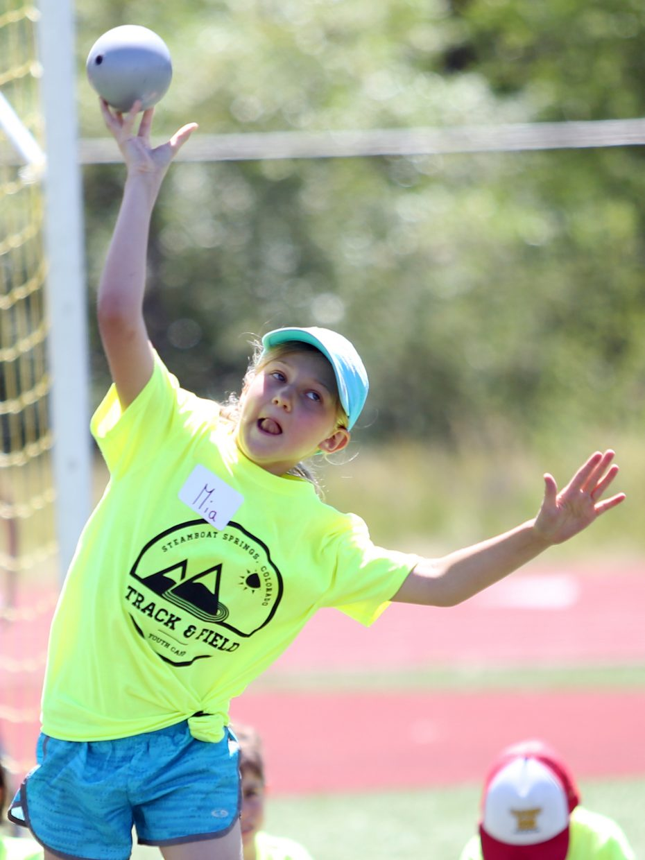 Mia competes at a youth track and field camp hosted by Steamboat Springs High School on Friday, June 26, 2015, at the SSHS track. The week long camp ended Friday with a mock track meet at the high school.