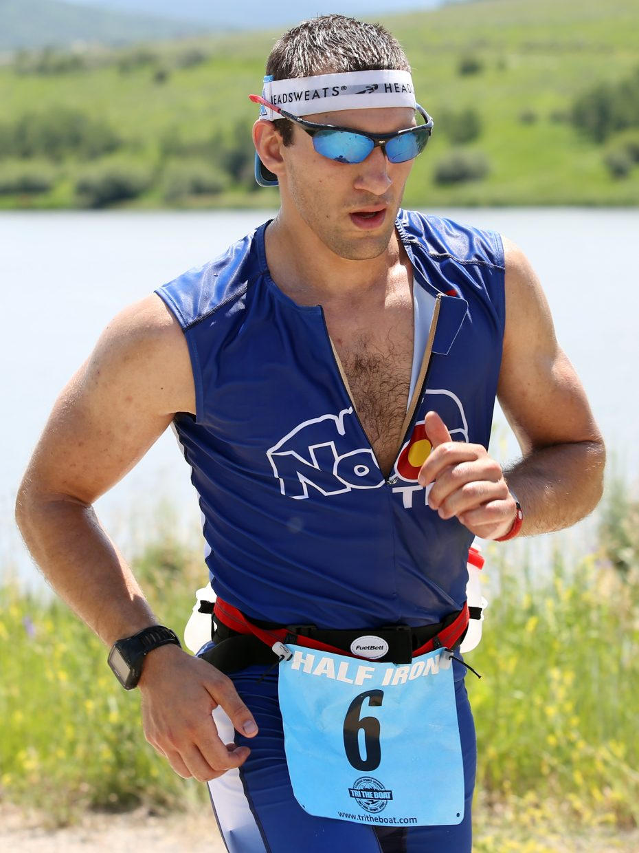 A runner competes in the 2015 Tri the Boat half-Ironman triathlon on Sunday, June 28, 2015, at Stagecoach State Park.