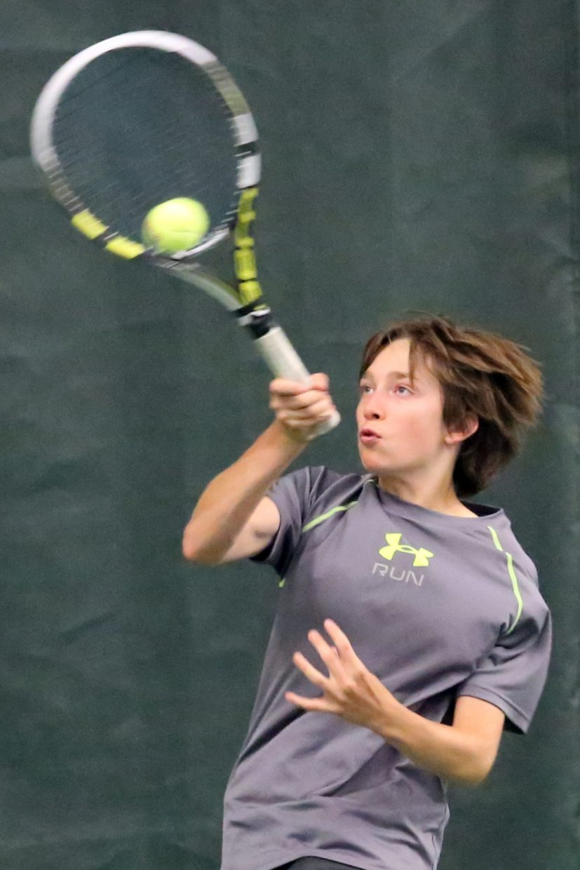 Carbondale's Andrew Humble, 14, competes in the boys' 14-and-under round-robin division of the LuvBoat Adult MXD and Junior Singles Championships on Sunday, June 28, inside the Tennis Center at Steamboat Springs.
