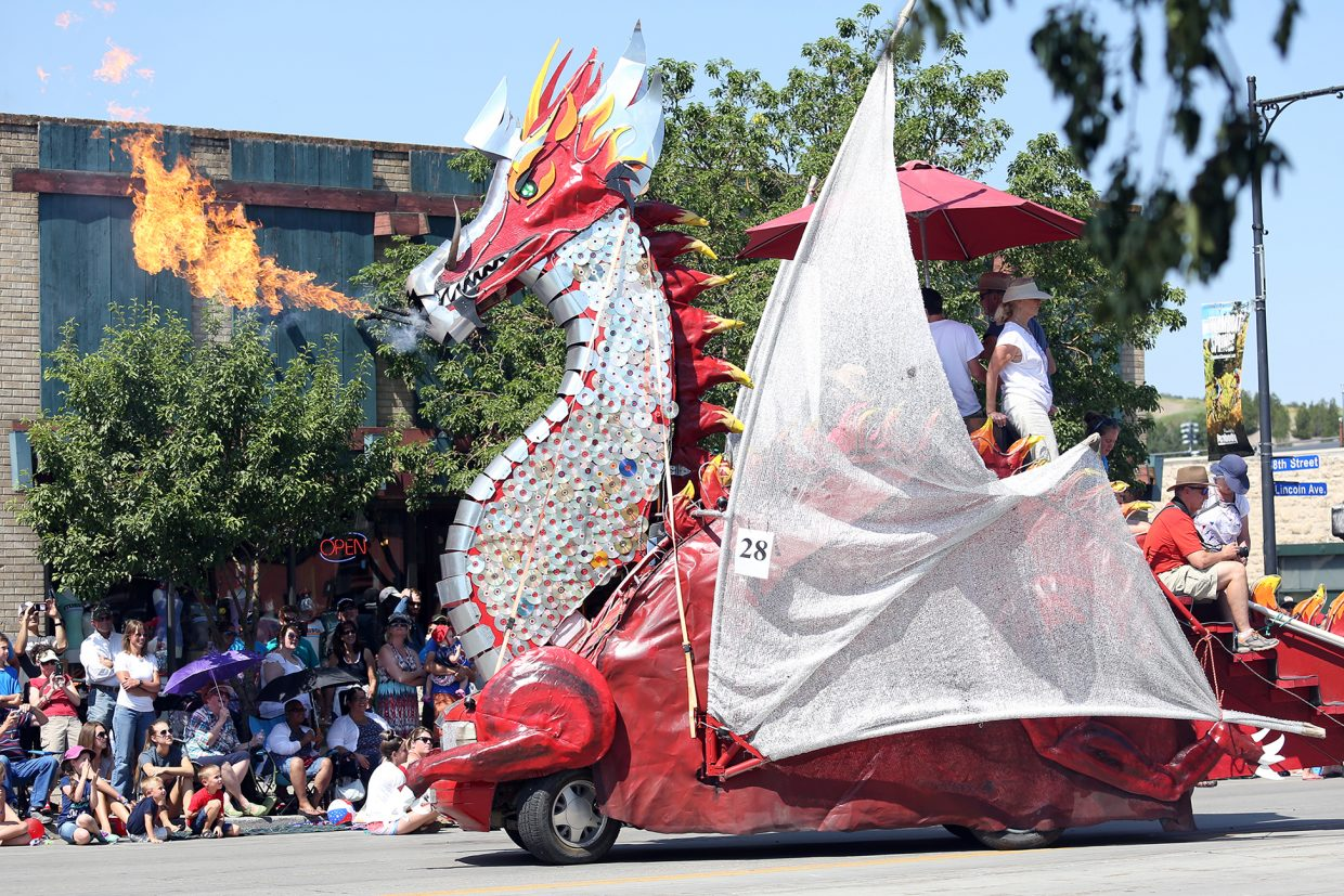 With its fire-breathing head soaring into the sky, this dragon float was among the most memorable spectacles during Saturday's Fourth of July parade in downtown Steamboat Springs.