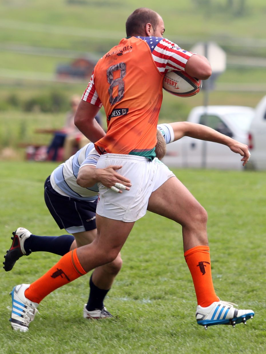 Steamboat RFC against Vail RFC during their semifinal match on Saturday in the 41st annual Cow Pie Classic at the Ski Town Fields in Steamboat Springs. Vail won, 7-5.