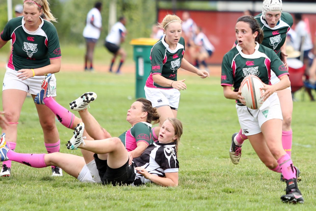 """The Steamboat women's RFC against the Salt Lake City Vipers """"B"""" team on Saturday in the 41st annual Cow Pie Classic at the Ski Town Fields in Steamboat Springs."""