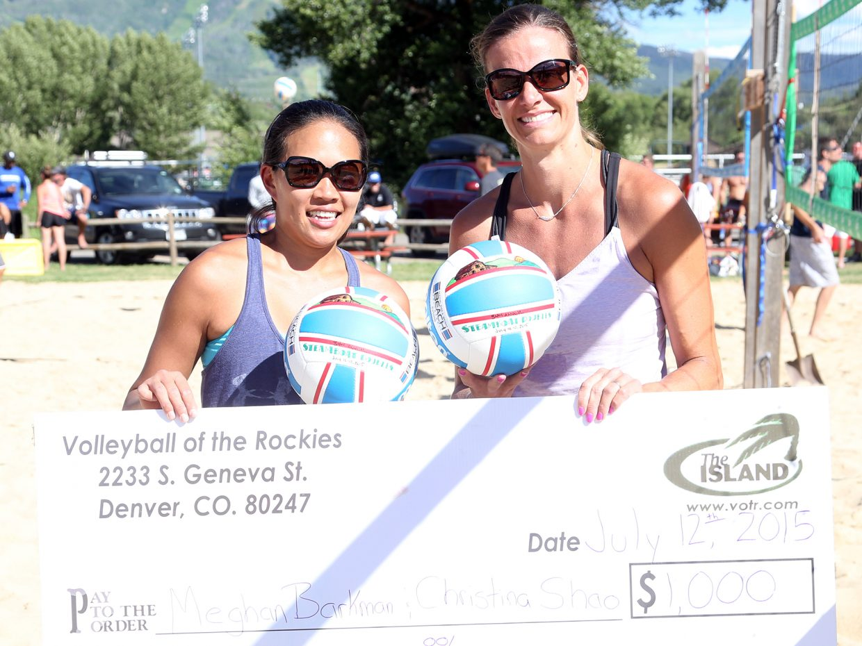 Christina Shao, left, and her teammate Meghan Barkman pose with their check after winning Sunday's championship match of the women's sand open division of the Steamboat Doubles Volleyball Tournament, played at Howelsen Park. Barkman and Shao defeated the duo of Tanya Bond and Tess Rogers to claim the title.