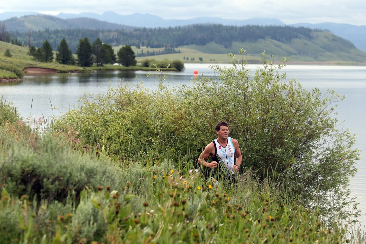 Steamboat Springs resident Eddie Rogers competes in Sunday's Steamboat Lake Sprint Triathlon. Rogers finished fourth overall.