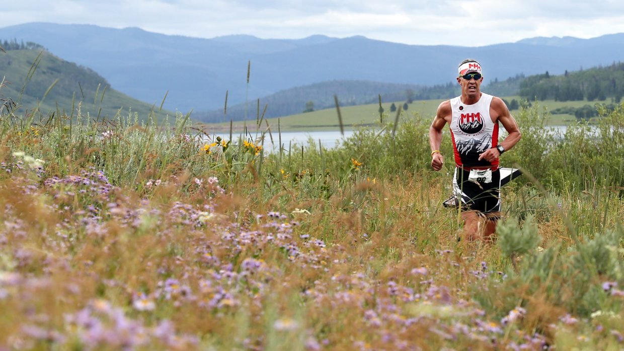 Highlands Ranch resident Gary Lancaster approaches the end of the run portion of the Steamboat Lake Sprint Triathlon on Sunday at Steamboat Lake State Park. Lancaster finished 16th overall.