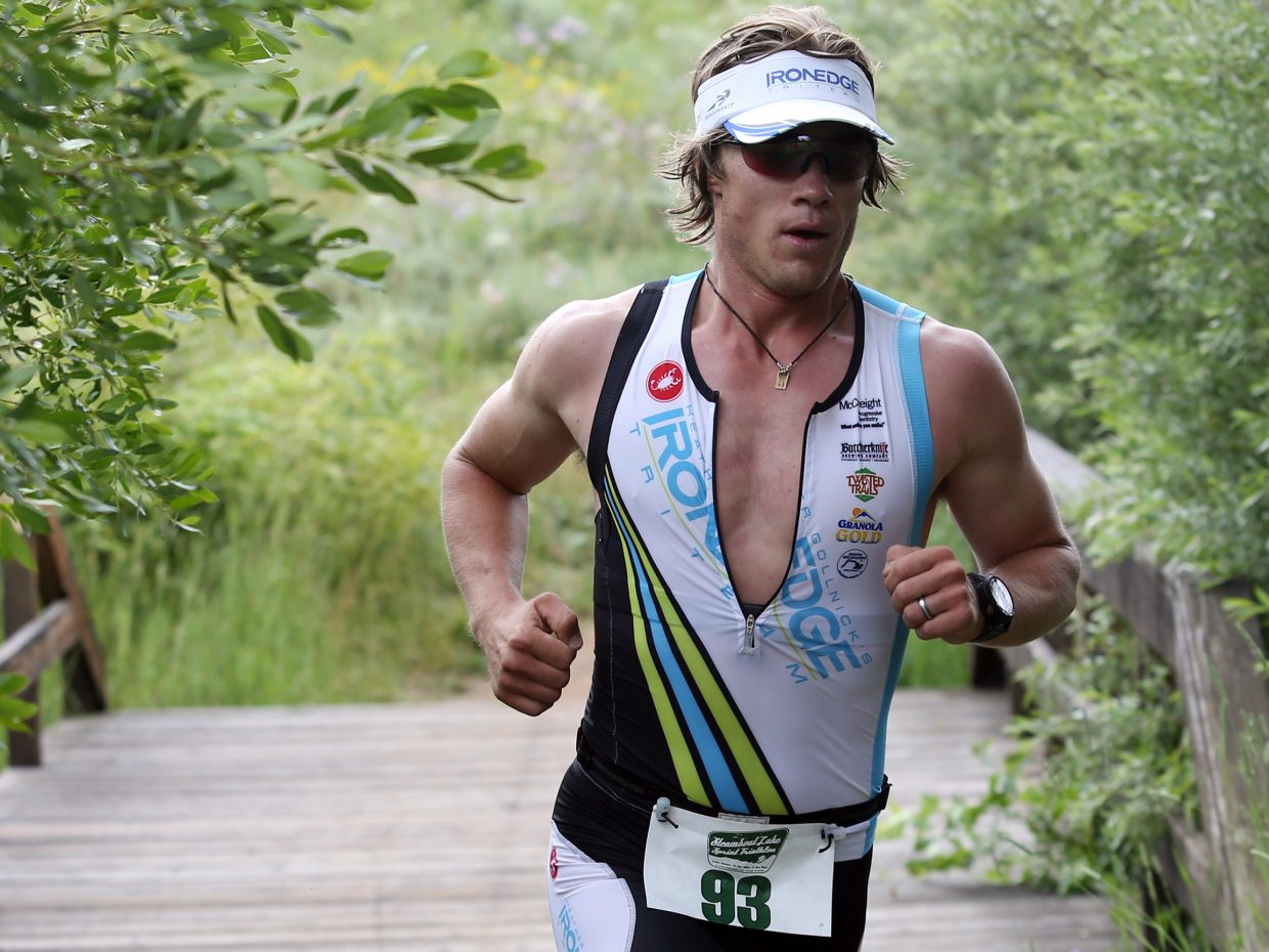 Charlie Macarthur competes in Sunday's Steamboat Lake Sprint Triathlon.