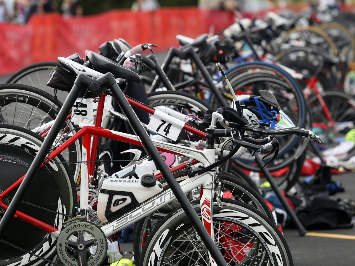 Bicycles collect in the transition area during Sunday's Steamboat Lake Sprint Triathlon.