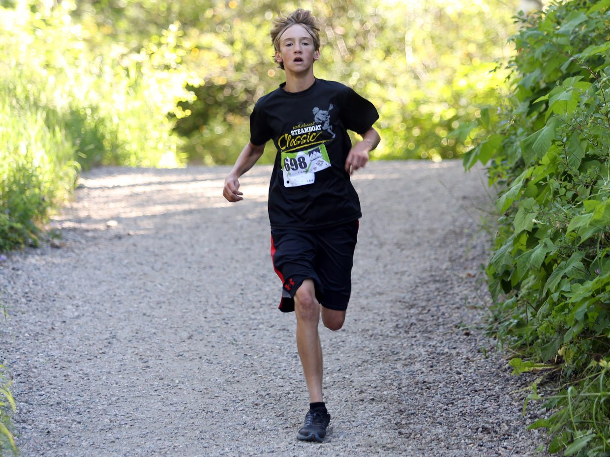 Cooper Jones, 13, competes in Saturday's Spring Creek Memorial 5K race in Steamboat Springs. Jones finished fourth overall in 21:58.
