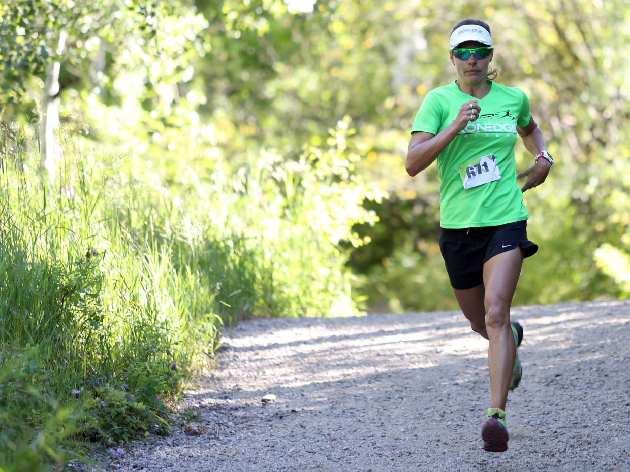 Steamboat Springs resident Heather Gollnick competes in Saturday's Spring Creek Memorial 5K race in Steamboat Springs. Gollnick finished sixth overall and third among women with a time of 22:21.