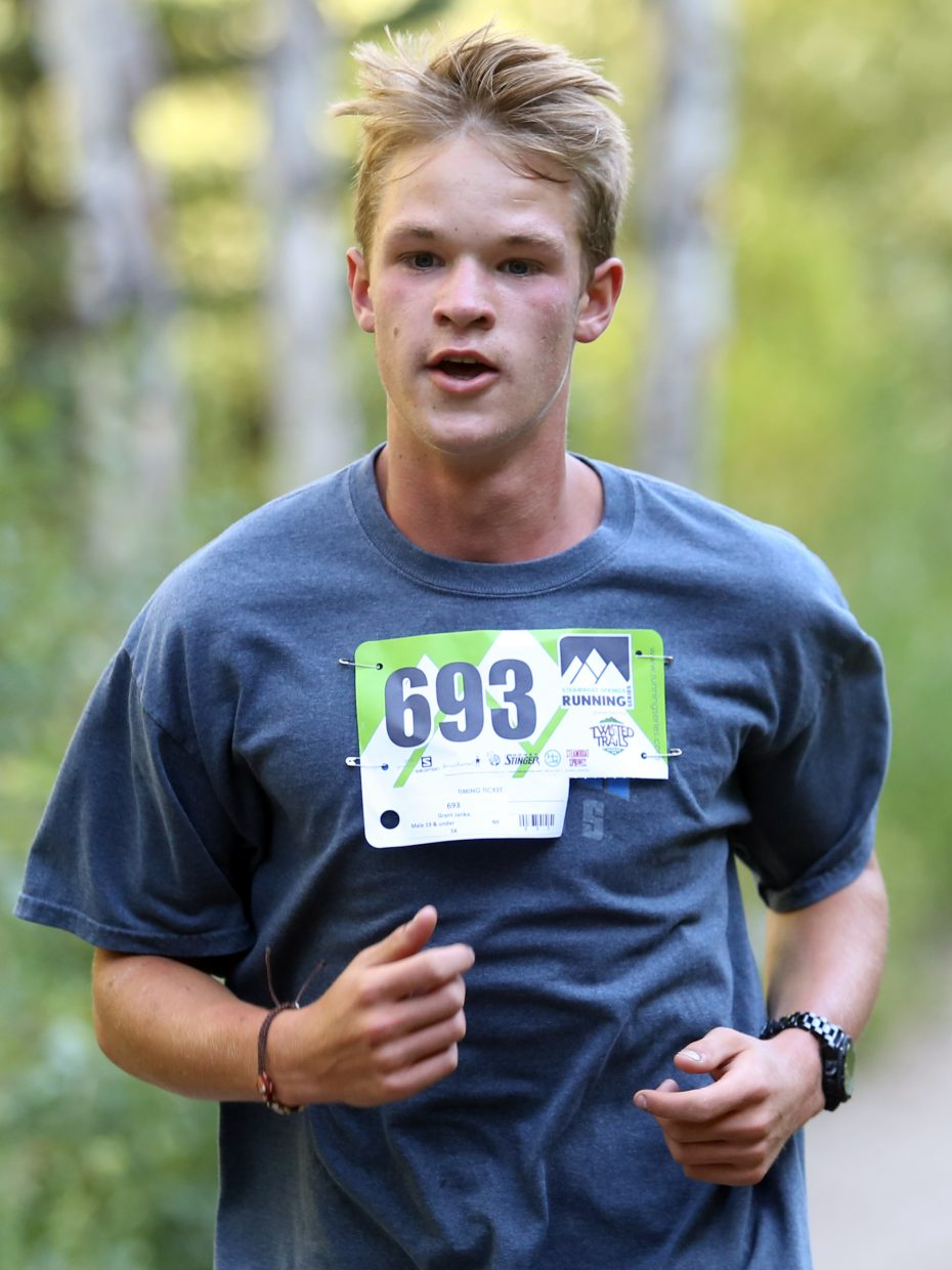 Grant Janka, 16, competes in Saturday's Spring Creek Memorial 5K race in Steamboat Springs. He finished 18th overall in 26:06.