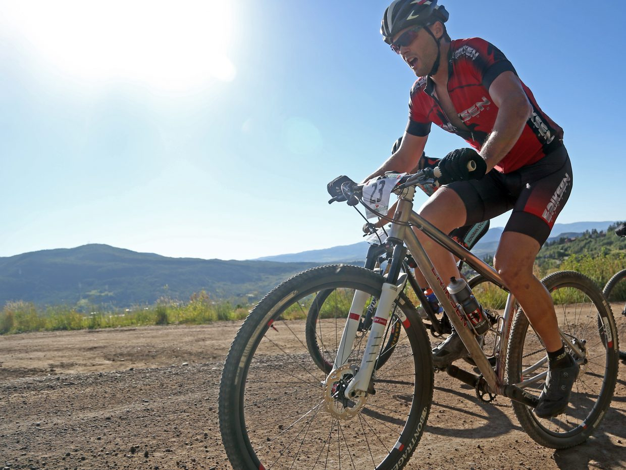 Brad Bingham competes in Wednesday's Storm Peak Hill Climb on Mount Werner. Bingham won the men's pro/open division in 1:05:46