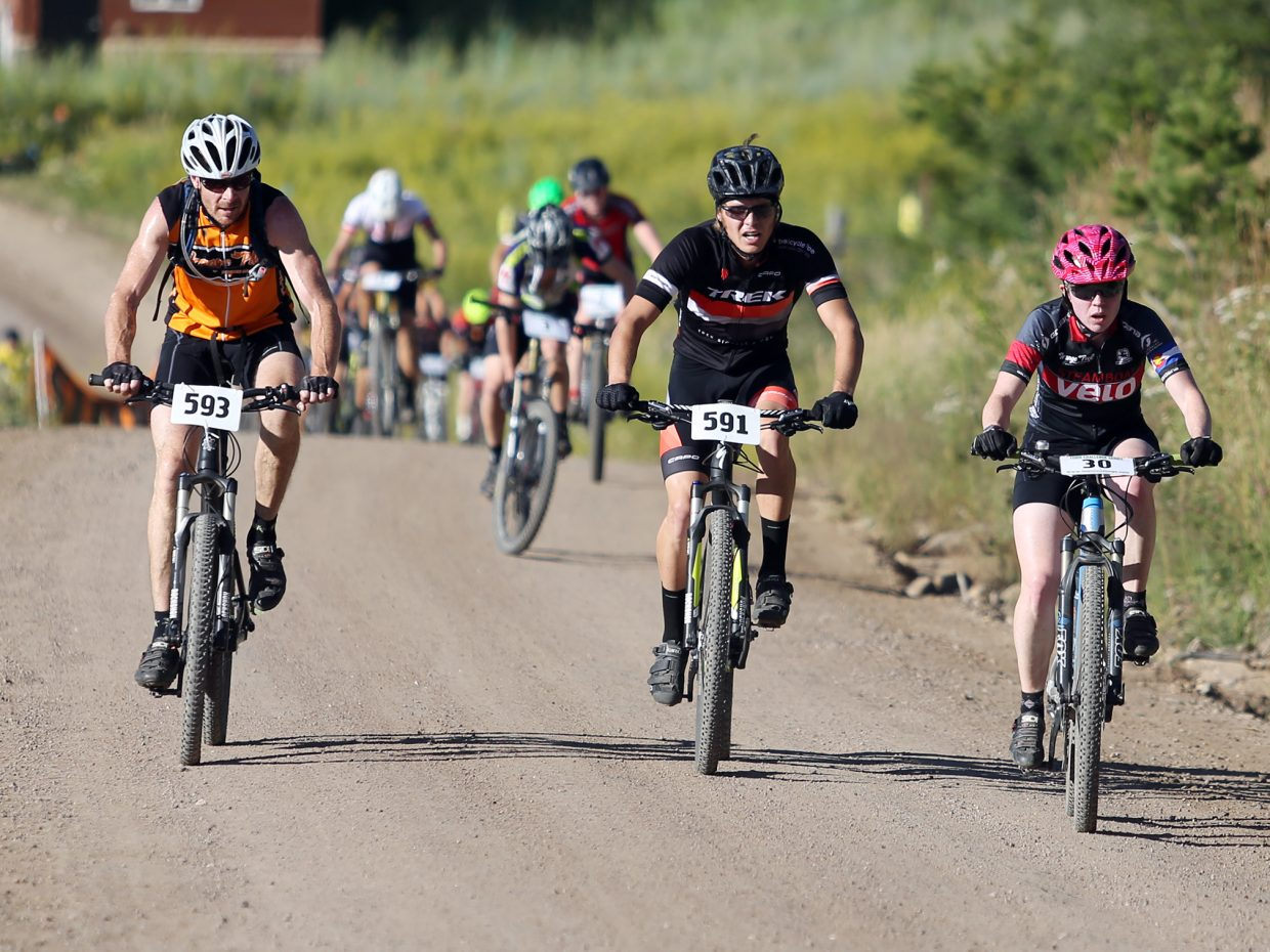 Bikers compete in Wednesday's Storm Peak Hill Climb on Mount Werner.