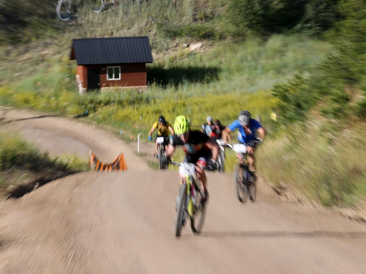 Bikers compete in Wednesday's Storm Peak Hill Climb on Mount Werner