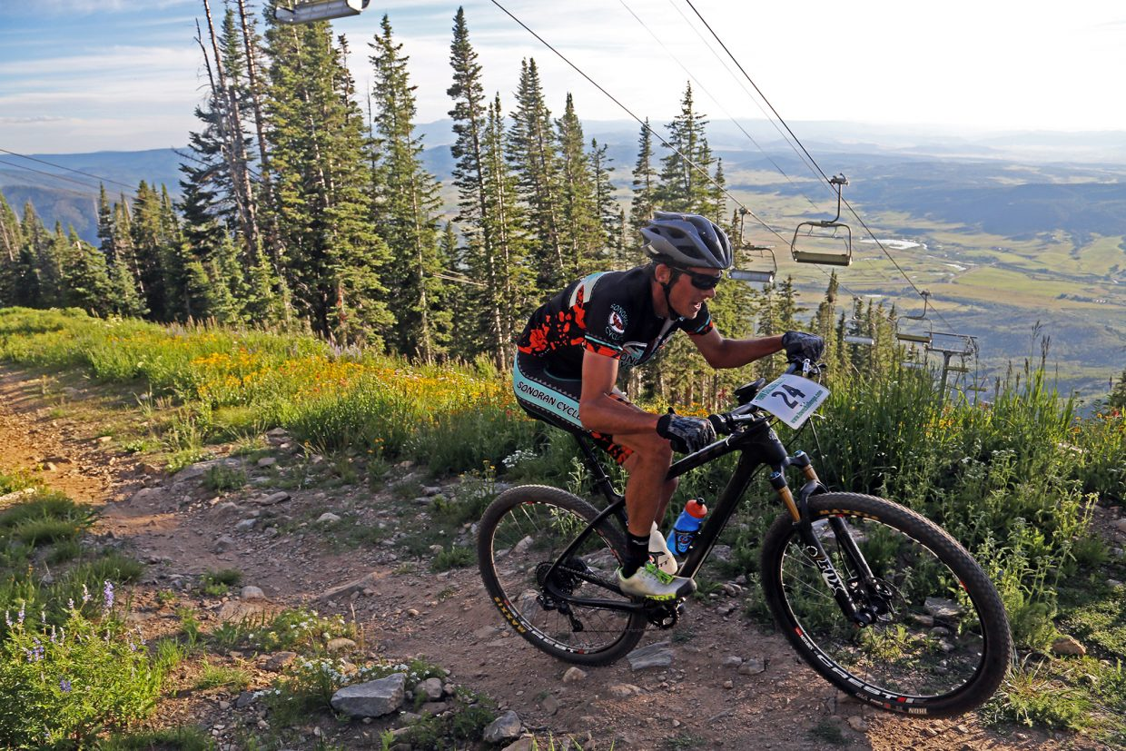 Peter Kalmes competes in Wednesday's Storm Peak Hill Climb on Mount Werner.
