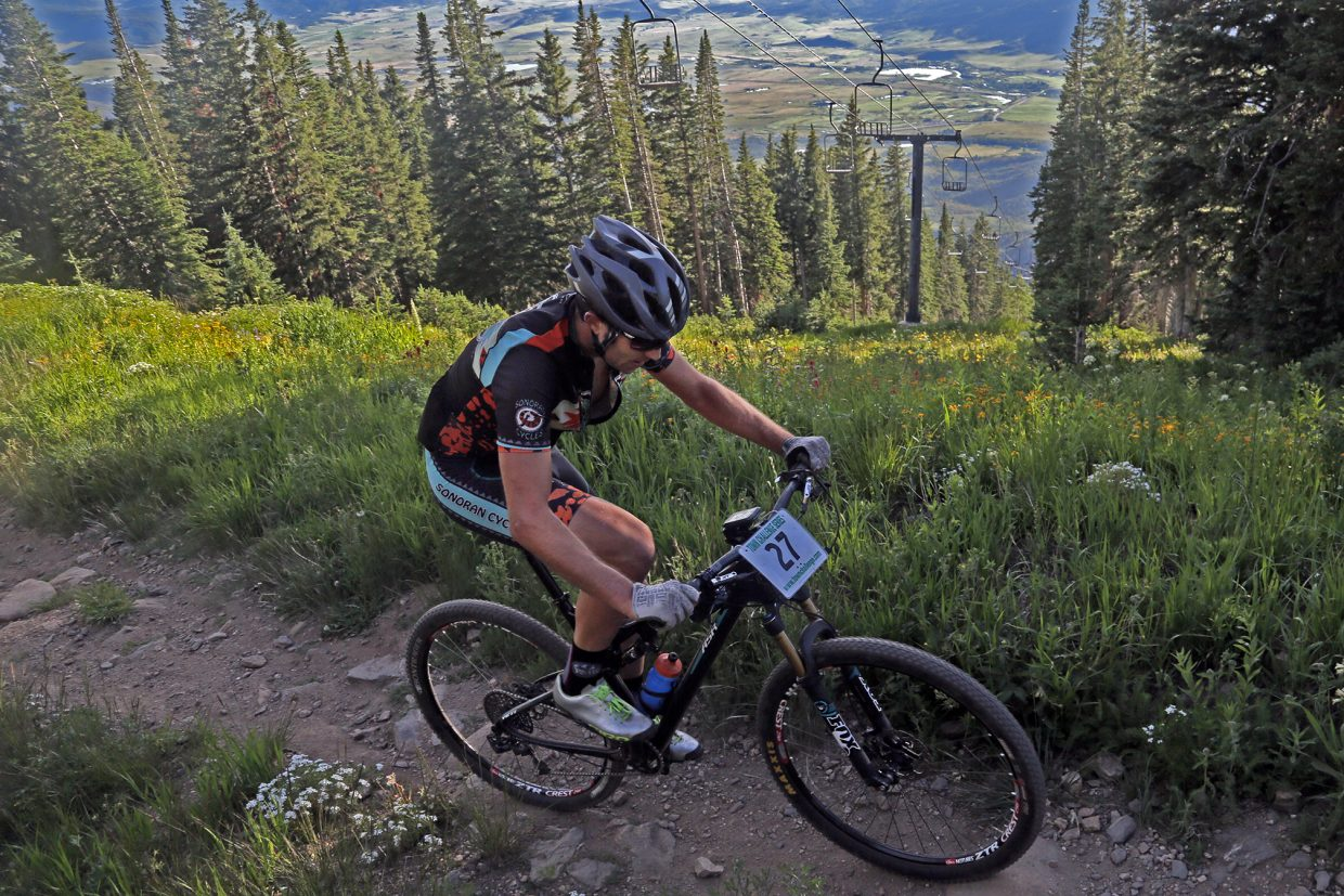 Alex Pond competes in Wednesday's Storm Peak Hill Climb on Mount Werner.
