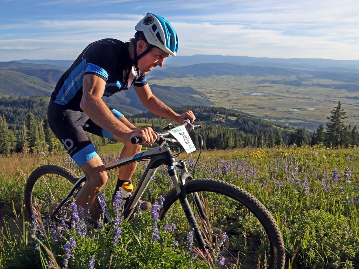 Steamboat Springs resident Jeff Minotto approaches the final climb of Wednesday's Storm Peak Hill Climb Town Challenge mountain bike race. The race started near the base of the ski area and finished at the Storm Peak lifts, a distance of 9.2 miles and elevation gain of more than 3,400 feet.
