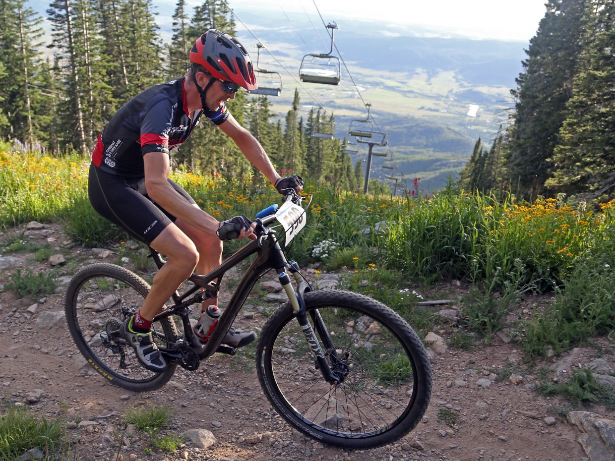 Ben Brown competes in Wednesday's Storm Peak Hill Climb on Mount Werner.