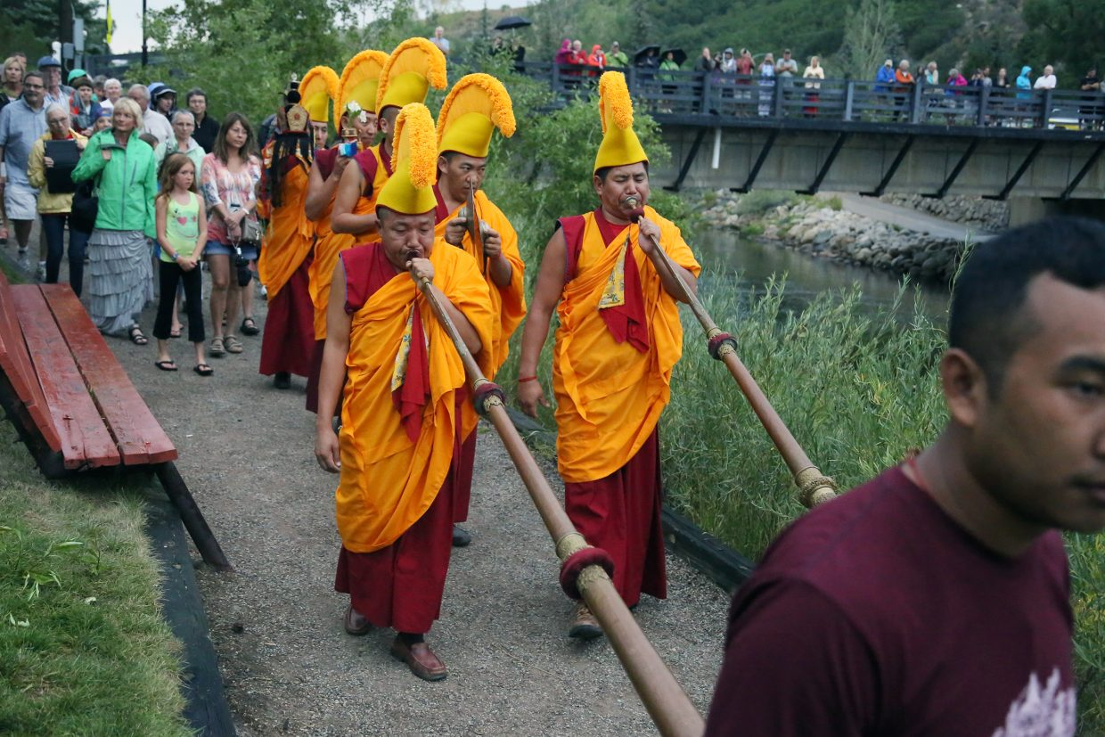 The closing ceremony of the visiting Drepung Loseling Monastery monks mandala exhibit on Sunday at the Bud Werner Memorial Library in Steamboat Springs.