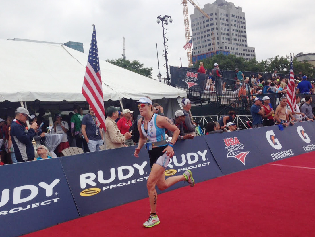 Steamboat Springs resident Robyn Jankoski nears the finish of Saturday's U.S.A. Triathlon Olympic Distance National Championship in downtown Milwaukee. Jankoski, 54, did just enough to qualify for the 2016 World Championships in Cozumel, Mexico.