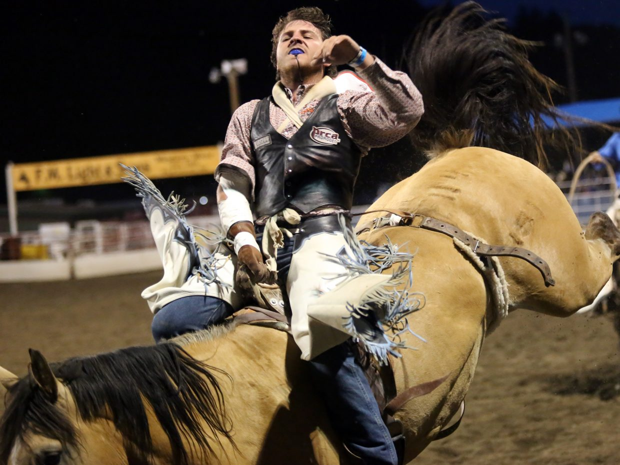 Colton Onyett competes in the bareback riding event of Saturday's Steamboat Springs Pro Rodeo Series at Brent Romick Arena. Onyett, 19, moved to Colorado a year ago from California and is calling Steamboat home for the summer.