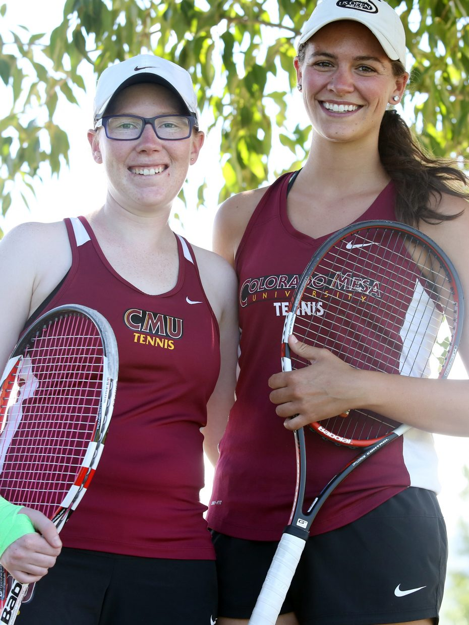 Vail's Shannen McNamara, left, and Steamboat's Kristyn Wykert pose for a photo Sunday after winning the women's 4.5 doubles flight of the 2015 Steamboat NTRP Championships outside The Tennis Center at Steamboat Springs. McNamara also won the women's 4.5 singles flight.