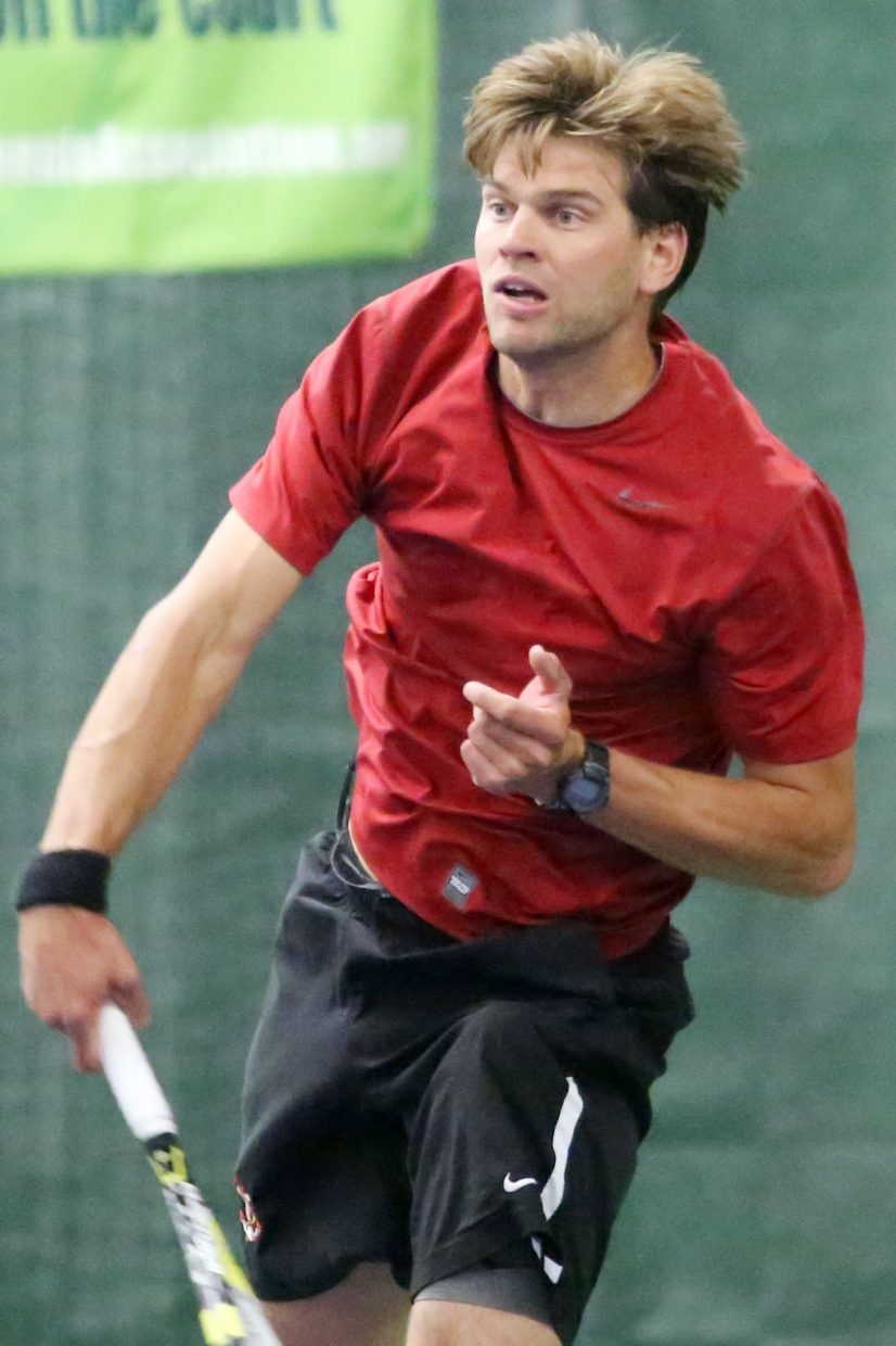 Steamboat Springs resident Louis Nijsten competes in Sunday's men's 4.5 doubles championship match inside The Tennis Center at Steamboat Springs.