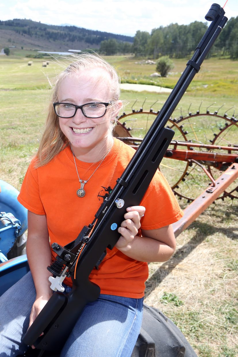 Yampa's Kendra Halder, seen here in August 2015, will represent the county next week at the 2016 4-H Shooting Sports National Championships in Nebraska.