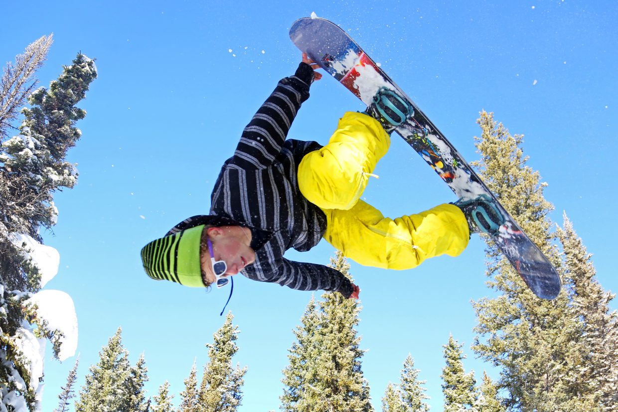David Noack gets big air off a jump on Rabbit Ears Pass earlier this month. Snowboarders, along with a few skiers, flock to areas like Rabbit Ears prior to Steamboat Ski Area opening for the season.