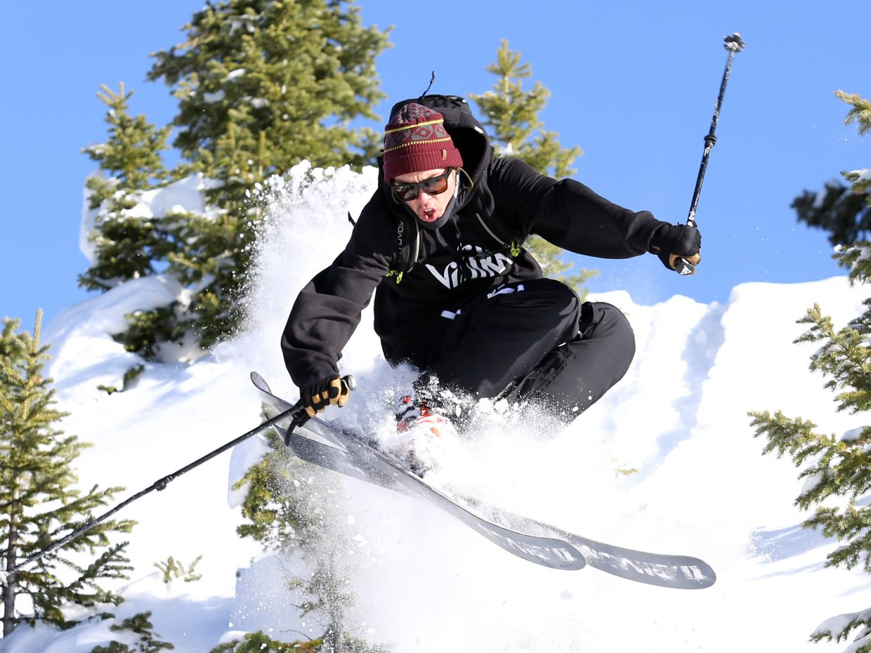 Steamboat Springs resident Brian Erhart, a Michigan native, plays in fresh powder on his skis in Rabbit Ears Pass in mid-November.