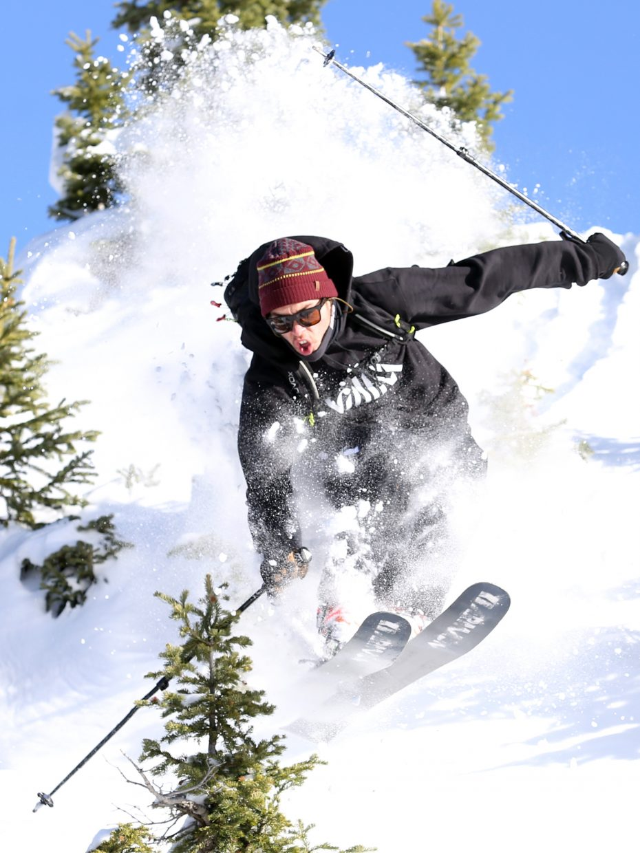 Steamboat's Brian Erhart plays in fresh powder on his skis in Rabbit Ears Pass on Nov. 13.