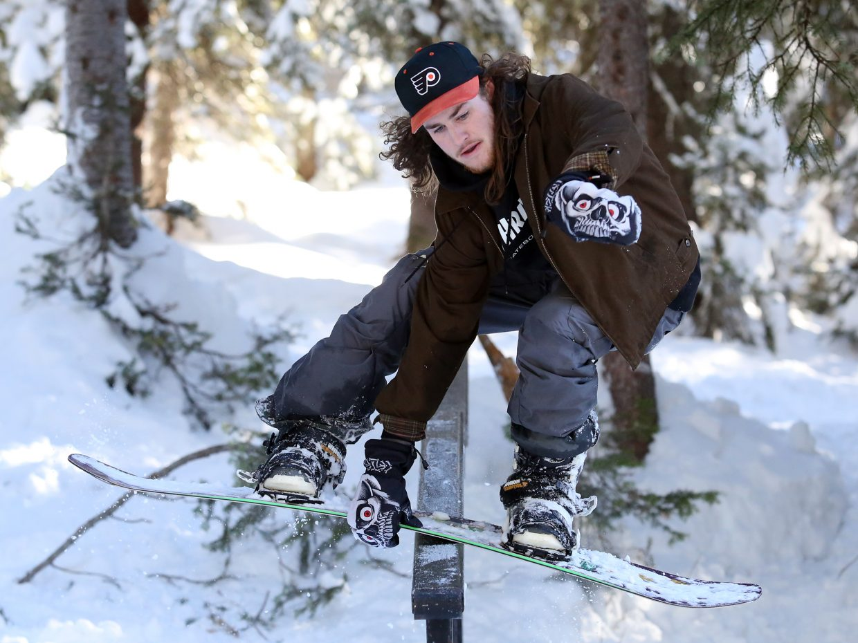 Steamboat's Lewis Deane grinds a rail on Rabbit Ears Pass earlier this month.