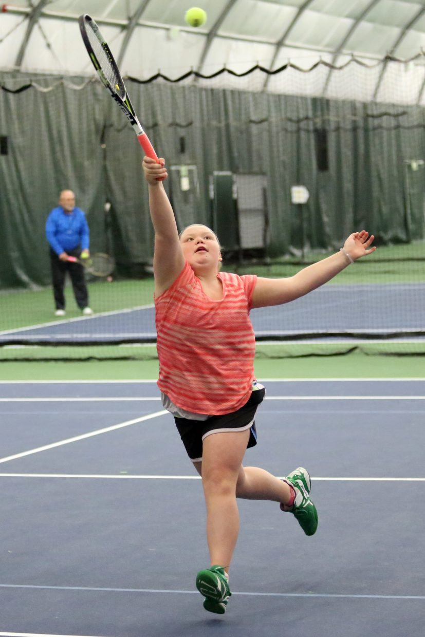 Noelle Cerone, an eighth grader at Steamboat Springs Middle School, competes in the 2015 Steamboat Springs City Tennis Championships on Sunday at The Tennis Center. Cerone won the women's 3.5 singles flight.