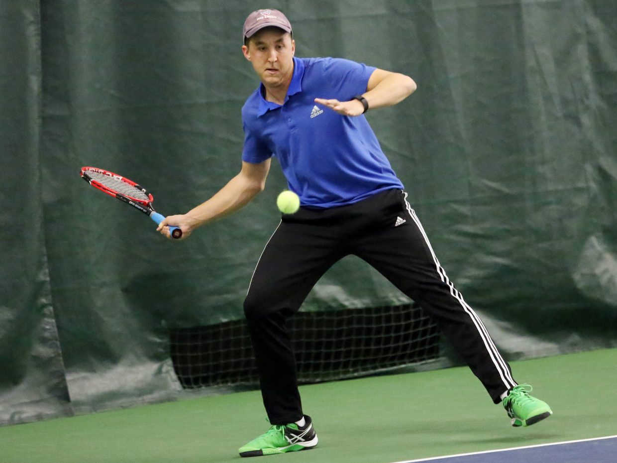 "Joseph ""JoJo"" O'Dell competes in the 2015 Steamboat Springs City Tennis Championships on Sunday at The Tennis Center. O'Dell is the newest tennis pro for The Tennis Center and took second in the men's 4.5 singles flight."